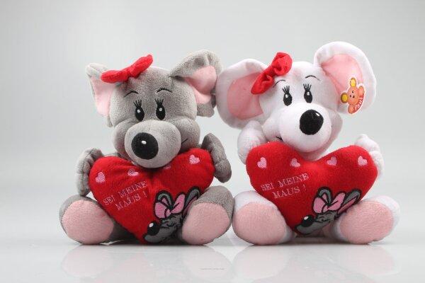 Maus Kuscheltier mit rotem Herz und Schleife, sitzend ca. 22 cm