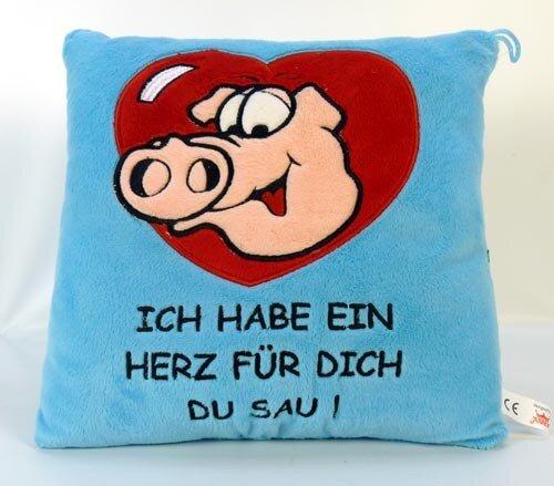 """Kissen """"Raudi"""" mit Spruch """"ich habe ein Herz für dich, du Sau!"""", blau mit rotem Herz, 29 cm"""