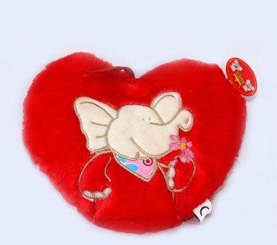 rotes Plüschherz mit Elefantenstickerei, sehr flauschig, mit Öse zum Aufhängen, 20 cm