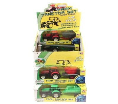 Mittlerer Traktor + Anhänger in Box 25 x 8 cm