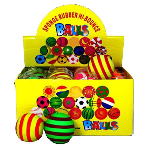 Springball,Ø6, 3cm, Streifen- Design, Neonfarben sortiert, 24 Stück/Display
