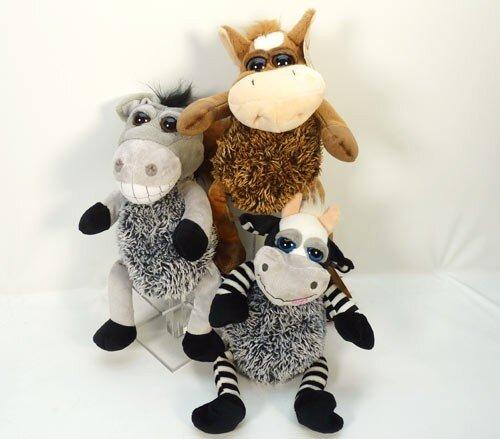 Tiersortiment, Esel, Pferd oder Kuh, hochwertig, offene Knopfaugen, Langplüsch, sitzend 25 cm