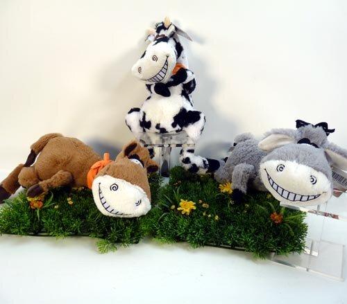 lustige Schlenkertiere mit Halstuch, Kuh, Esel oder Pferd, hochwertig, gestickte Auge, liegend 38 cm