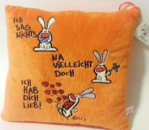 """""""NIC""""-Kissen mit Spruch """"Ich sag nichts"""" """"Na vielleicht doch"""" """"Ich hab dich lieb!"""", orange, 28 cm"""