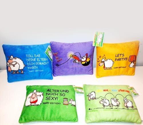 """Kissen """"Jan, das Schaf"""", mit lustigen Motiven, blau, lila, orange, grün oder hellgrün, 18 cm"""