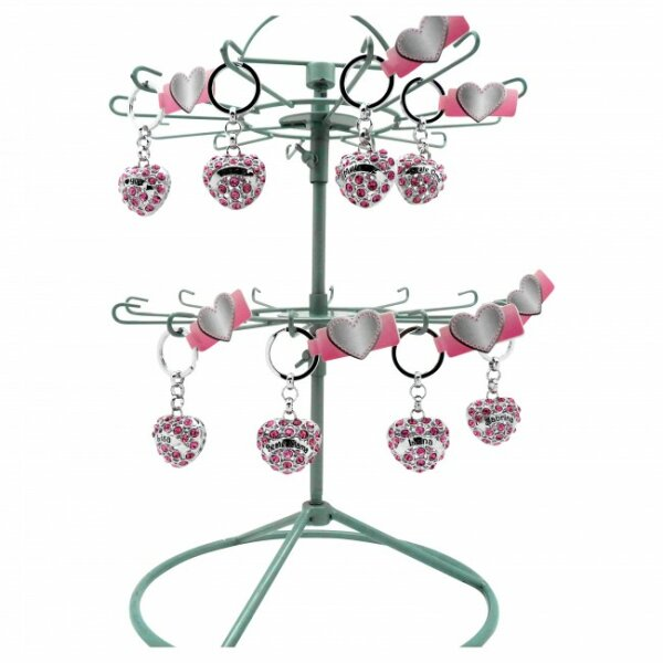 Strass Herz mit diversen Namen und Sprüchen, an Schlüsselkette, alle in Farbe rosa, 4 cm