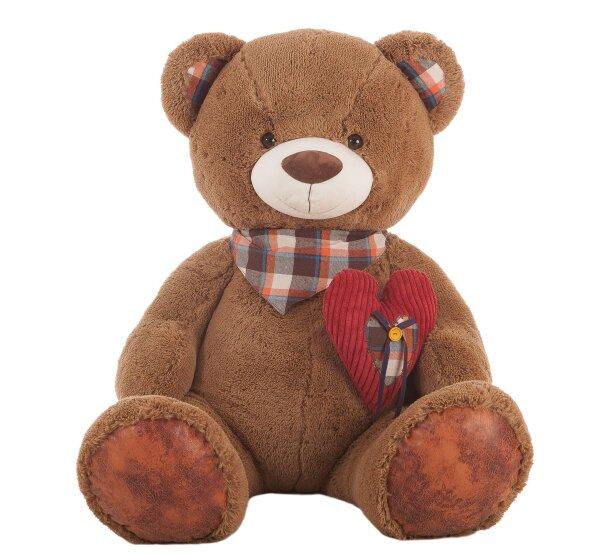Brauner Teddy mit Halstuch und Herz - ca. 80 cm