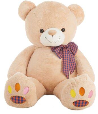XXL Teddybär 130 cm, bunte Tatzen und Schleife