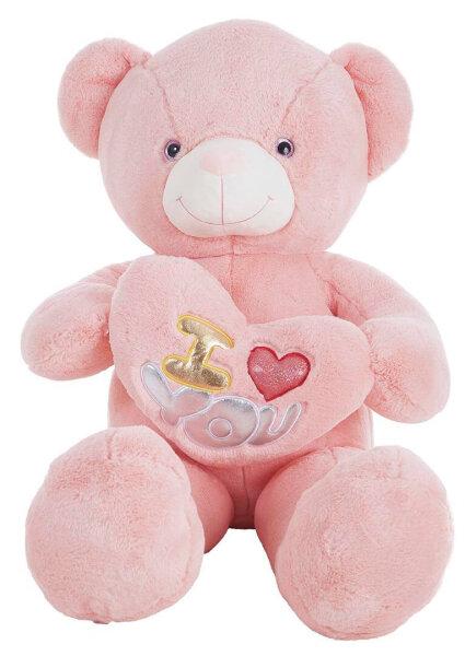 Bär mit Herz in Rosa 100 cm