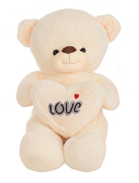 Bär mit Herz und Loveaufschrift in Beige, Lila, Rosa und Rot 110cm