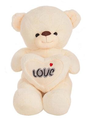 Bär mit Herz und Loveaufschrift in Beige, Lila, Rosa...