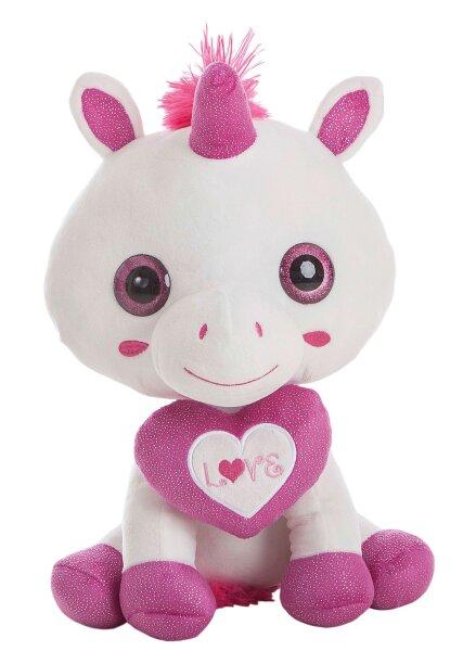 """Einhorn in weiß mit pinkem Herz mit """"LOVE"""" Aufschrift, 65 cm"""