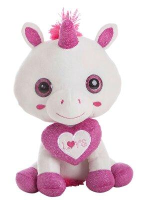 Einhorn in weiß mit pinkem Herz mit...