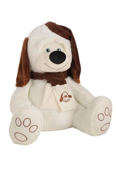 Hund in beige und braun mit Schlafmütze und Schal, 90 cm