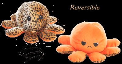 Stimmungs- Oktopus,Wendetier, orange/Gepard, 10x24 cm