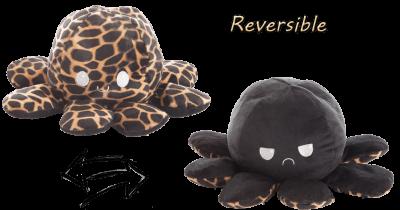 Stimmungs- Octopus,Wendetier, schwarz/giraffe, 10x24 cm