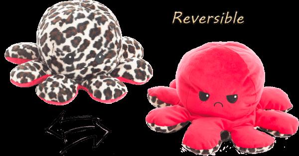 Stimmungs- Octopus,Wendetier, rot/leopard/böse, 10x24 cm