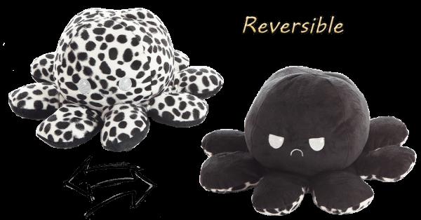 Stimmungs- Oktopus,Wendetier, schwarz/Leopard, 10x24 cm
