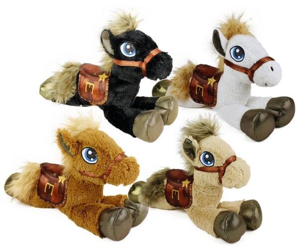 Plüsch Pferd liegend, ca. 60 cm, 4fach sortiert, weiß, schwarz, dunkel- und hellbraun
