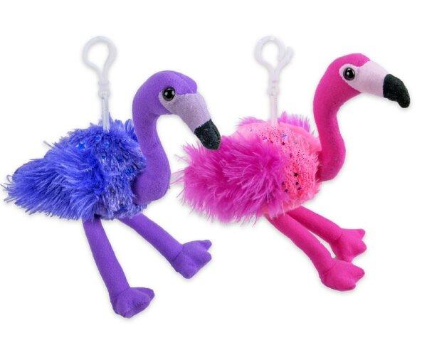 Flamingo Schlüsselanhänger aus Plüsch ca. 15 cm.