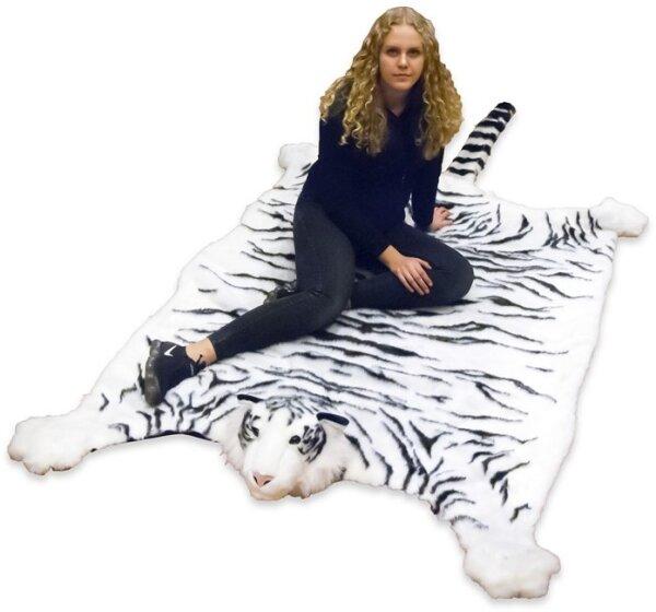 weißer Tiger Teppich oder Vorleger aus Kunstfell ca. 130 x 200 cm