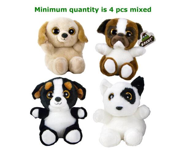 niedliche Plüschhunde, 4 fach sortiert, 15 cm, super hochwertige Qualität, Glitzeraugen