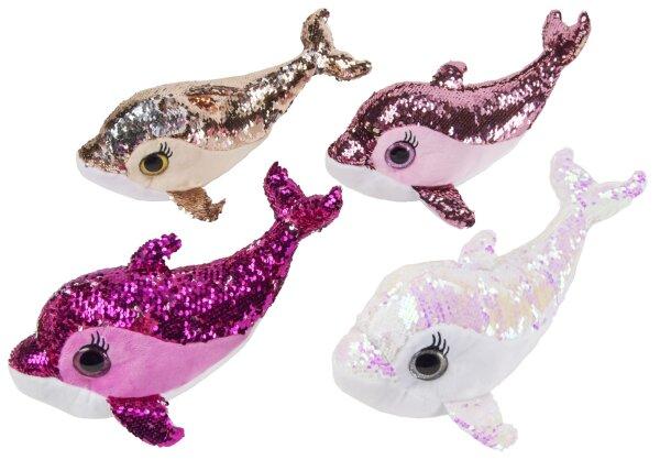 Delfin aus Plüsch mit Pailletten ca. 38 cm, in 4 verschiedenen Farben