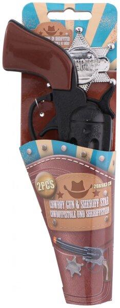 Cowboypistole in braun/schwarz mit schwarzen Verzierungen & Sheriffstern in silber, Pistole ist ca.