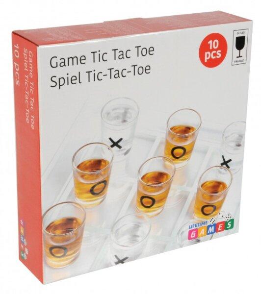 Trinkspiel Tic Tac Toe, 9 Gläser (5x Kreis, 4 x Kreuz)+ Brett, für 2 oder mehrere Spieler geeignet,