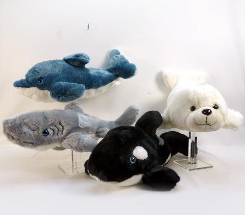 Plüsch Seetiere, Hai, Orka, Robbe und Delfin, Knopfaugen, 50 cm