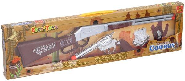 Cowboyset, 4teilig, Gewehr und Pistole in braun/silber/orange, Emblem in silber zum Anstecken und Em