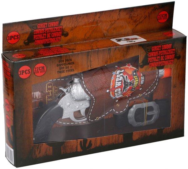 Cowboy Pistolenset, 3teilig, Pistole ca. 27 cm groß im Halfter und Gürtel, der Halfter ist mit einem