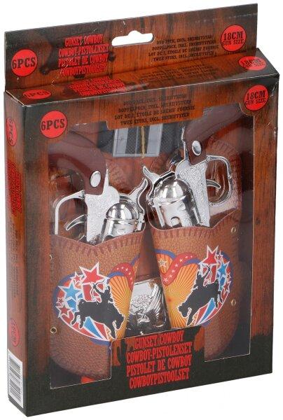 Cowboy Pistolenset, 6teilig, 2 Pistolen im Halfter, Sheriffstern und Gürtel, der Halfter ist mit ein
