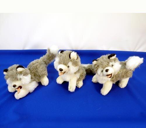 niedlicher Husky, erhältlich liegend, sitzend und stehend, grau/weiß, offenes Maul mit Zunge, 20 cm