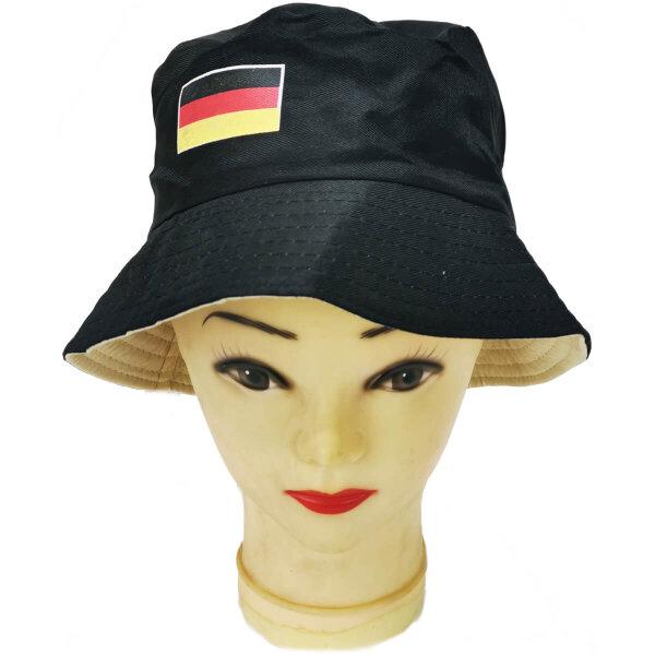 Fischerhut Deutschland, schwarz mit Deutschlandfahne drauf