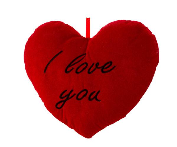 Herzkissen aus Plüsch - rot - I love you in schwarz aufgestickt - Größe ca. 33 cm breit und ca. 25 c