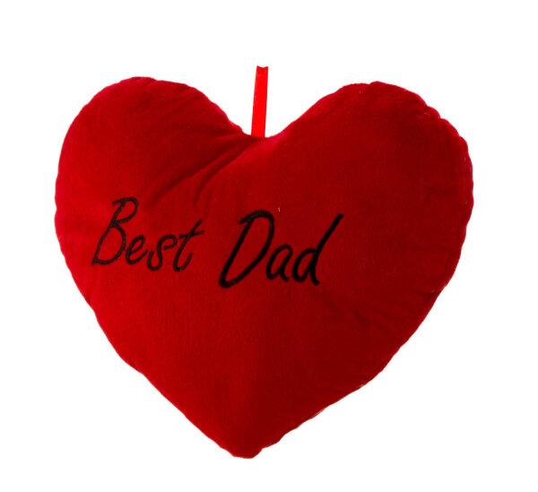 Herzkissen aus Plüsch - rot - Best Dad in schwarz aufgestickt - Größe ca. 33 cm breit und ca. 25 cm