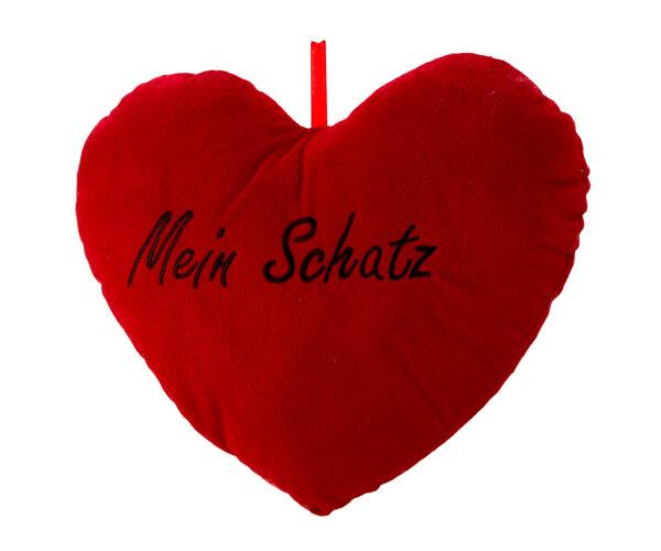 Herzkissen aus Plüsch - rot - Mein Schatz in schwarz aufgestickt - Größe ca. 33 cm breit und ca. 25