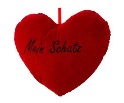 Herzkissen aus Plüsch - rot - Mein Schatz in schwarz...