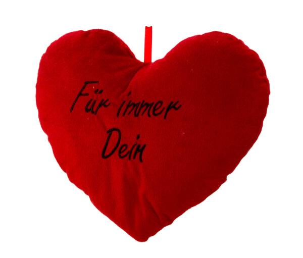 Herzkissen aus Plüsch - rot - Für immer Dein in schwarz aufgestickt - Größe ca. 33 cm breit und ca.