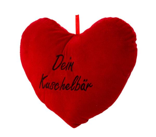Herzkissen aus Plüsch - rot - Dein Kuschelbär in schwarz aufgestickt - Größe ca. 33 cm breit und ca.