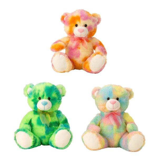 Bär farbenfroh in Pastellfarben. Die Größe im Sitzen ist ca. 40 cm.