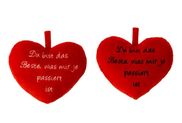 Herzkissen aus Plüsch - rot - Du bist das Beste was mir je passiert ist in schwarz aufgestickt - Größe 22 cm