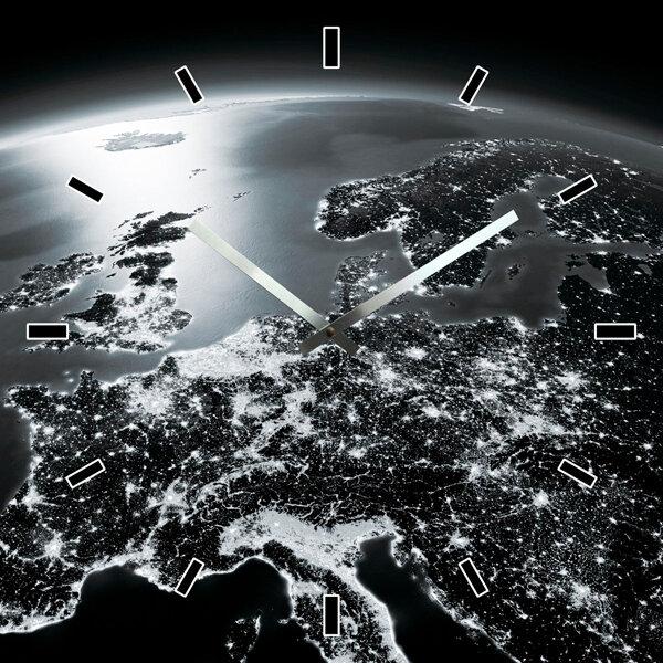 Wanduhr mit Europakarte ca. 60 x 60 cm