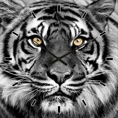 Wanduhr mit Tigermotiv ca. 60 x 60 cm