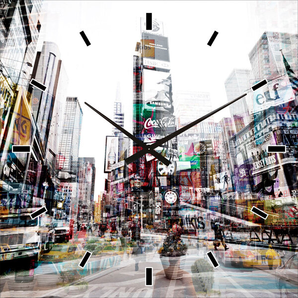 Wanduhr mit New Yorker Skyline ca. 60 x 60 cm