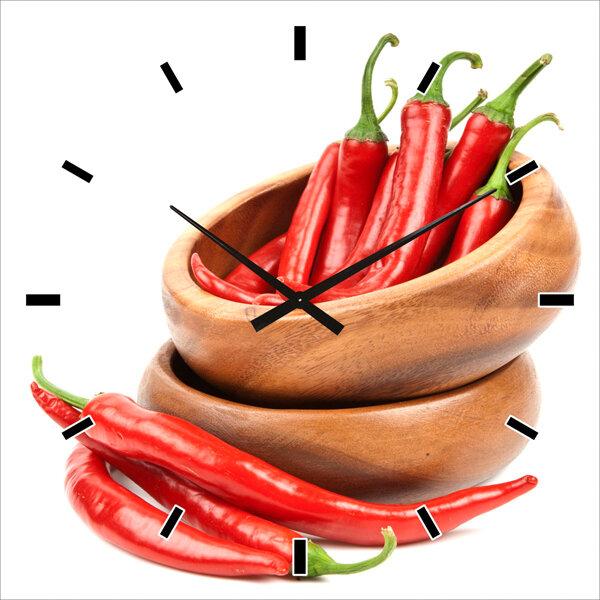 Wanduhr mit Chilis ca. 60 x 60 cm
