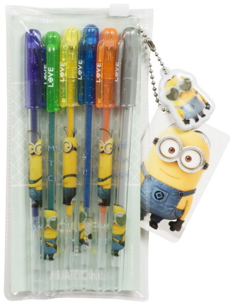 Minions Gel-Stifte mit Schlüsselanhänger