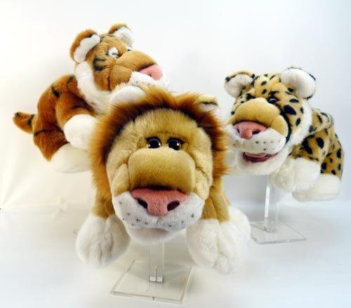 Handspielpuppe mit Tierstimme und nachfolgenden Augen, Löwe, Tiger oder Leopard, 33 cm