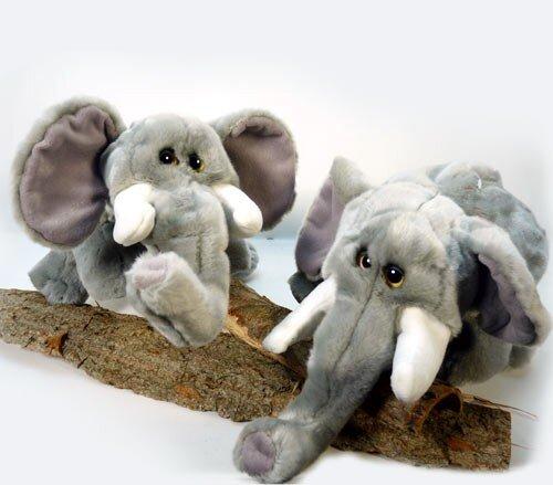 Elefant, Handspielpuppe mit Stimme und nachfolgenden Augen, grau, weiße Stoßzähne, Plüsch, 44 cm